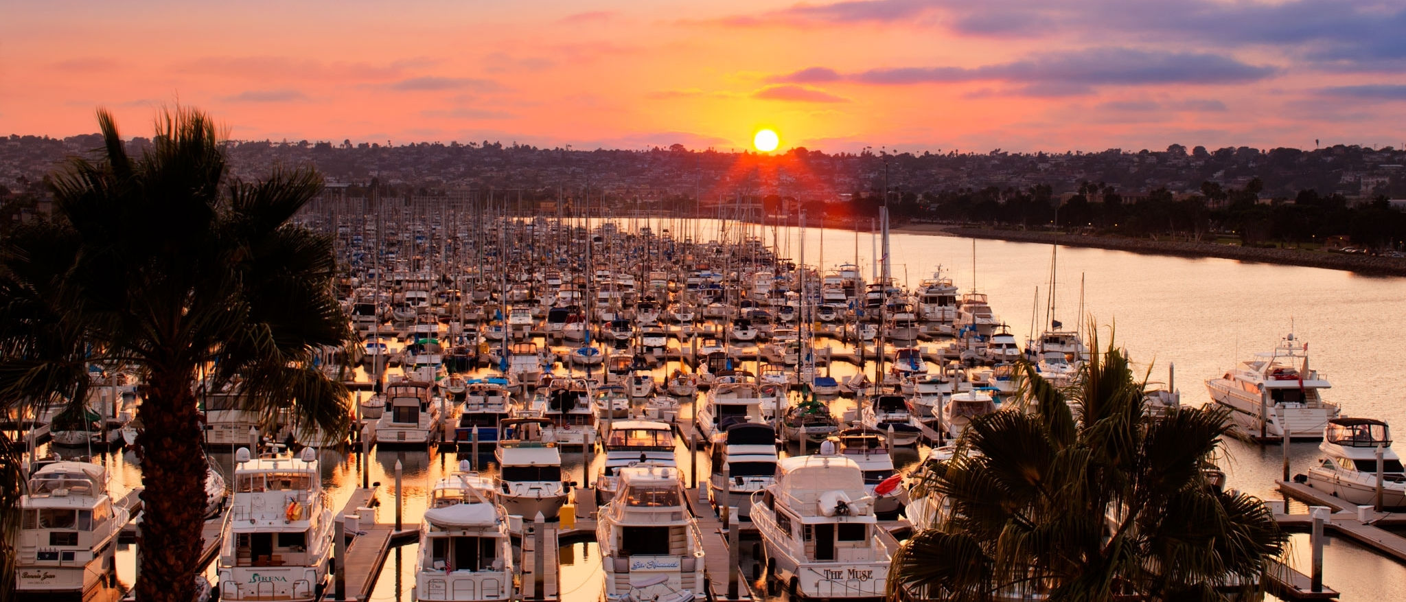 Sunset view of harbor from family friendly Sheraton San Diego Hotel & Marina